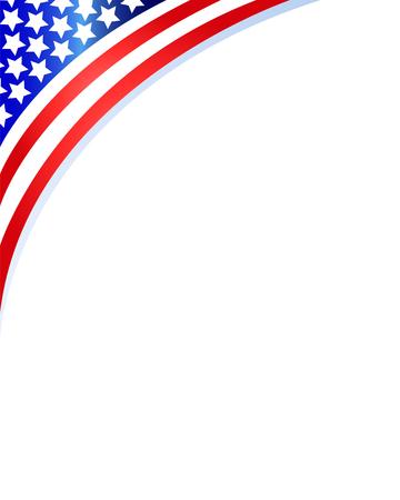 American flag in upper corner on blank page. Illustration