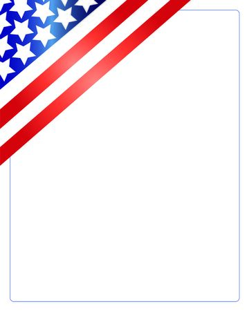patriotic background: United States of America flag in the corner of the white background. Patriotic American frame.