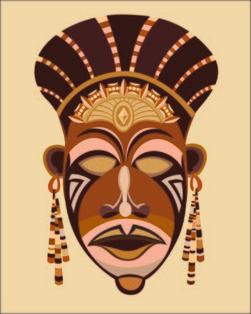 Abstract ethnic mask face African women. Vektorové ilustrace