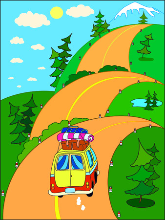 people travelling: Road trip on vacation to the mountains on a hilly road. People travelling by car.