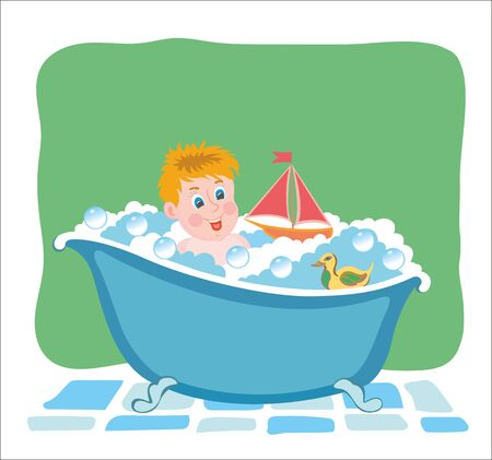 bathing: Bathing baby in tub with toys. Vector graphic image. Illustration