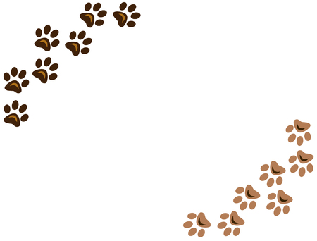 Animal paw prints on white background with copy space. Raster graphic images.