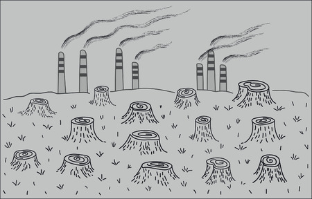 environmental disaster: Deforestation and environmental pollution. Environmental disaster. Illustration