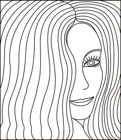 contour: Girl face contour image Illustration