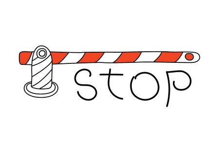 barrier gate: Road barrier gate and stop sign word isolated Illustration
