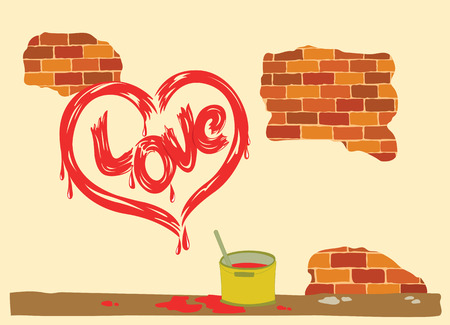 signed: Heart drawing signed love peeling brick wall.