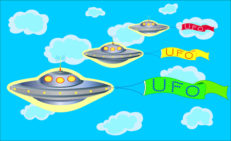 parade: The parade of UFOs in the blue sky with colorful banners with inscriptions UFO. Illustration