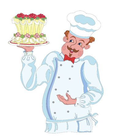pastry chef: Pastry chef holding cake image Illustration