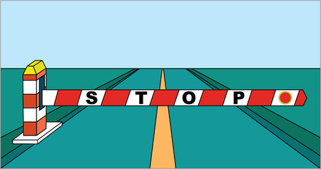 barrier: Closed road barrier stop sign is forbidden