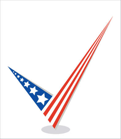 proceed: Vote tick the American flag icon isolated on white