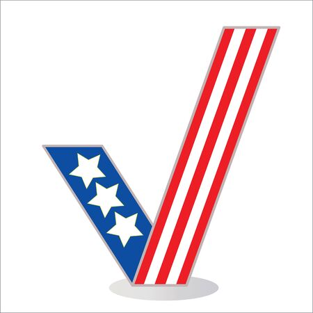 proceed: Symbol tick in the colors of the American flag Illustration