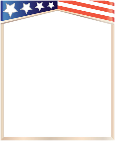 Frame with USA flag on white background with empty space