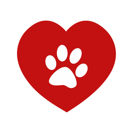 benevolence: Animal love symbol red heart and paw Stock Photo