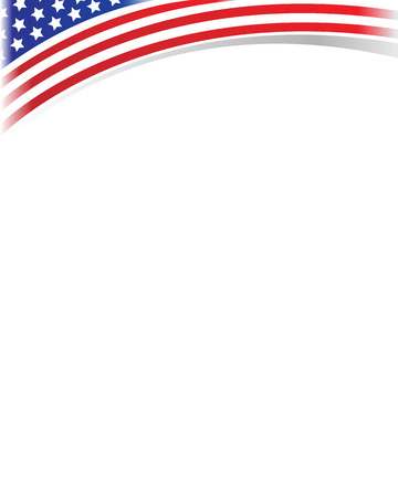 American flag wave white empty blank for text. Illustration