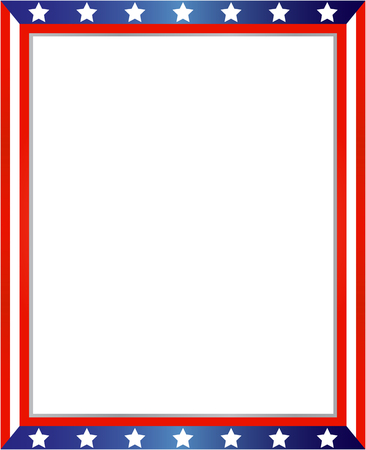 USA flag frame on white background with copy space for your text and images.