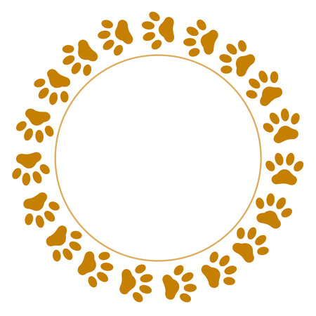 Brown paw prints pet round frame with empty space for your text. Иллюстрация