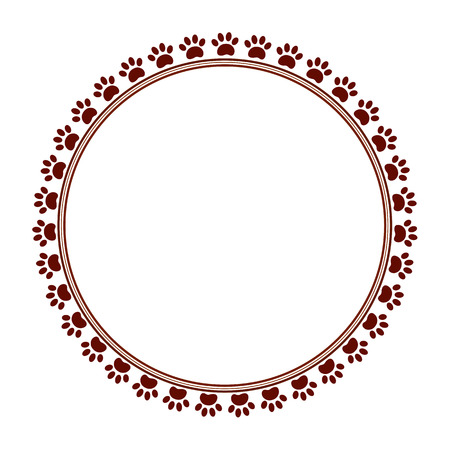 Brown paw prints animal round frame with empty space for your text and images. Illustration