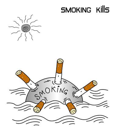 Smoking kills - advertising poster Illustration