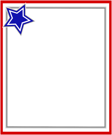 labor policy: Red gray border with a blue star, a design template American flag