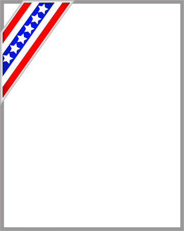 labor policy: Gray border with ribbon American flag with empty space for text. Illustration