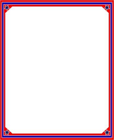 labor policy: Patriotic frame in red and blue colors of the US flag.