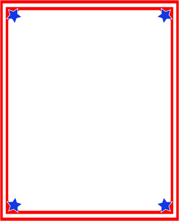 Abstract red American flag frame with empty space for text. Illustration