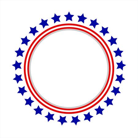 Round frame American flag stylized logo, symbol, emblem Stock Illustratie