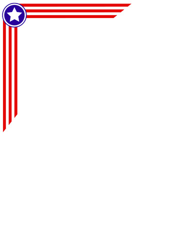 labor policy: frame corner is made in the style of the US flag with empty space for text