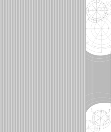technologic: Technological gray striped background with technical drawing