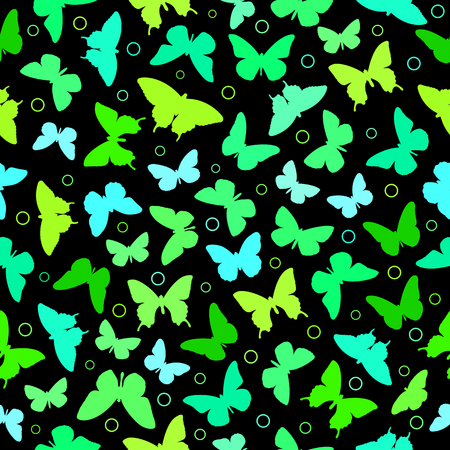 Colorful butterflies silhouettes seamless pattern on black background. Illustration