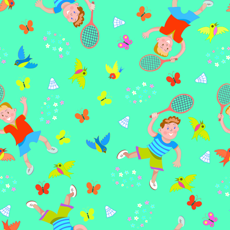 Seamless pattern children playing badminton.