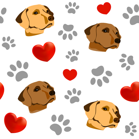 Seamless pattern with Pets and hearts. I love dogs. .