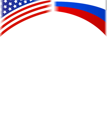 American and Russian flag political frame with empty space for text.