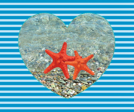 Summer sea background with starfish in heart on a striped blue background.