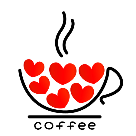 Coffee Cup With Red Heart Outline Drawing Royalty Free Cliparts