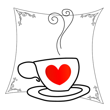 Coffee Cup with red heart outline drawing Illustration