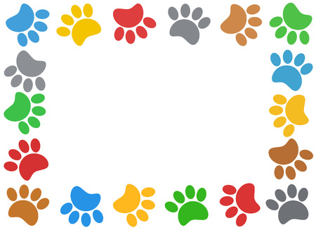 Multicolored paw print animal frame with empty space for your text. Stock Photo