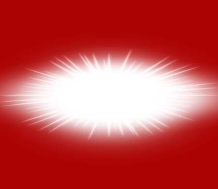 Bright white flash star on a red background with copy space for text.