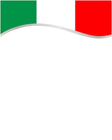 Italian flag frame wave with blank space for text.