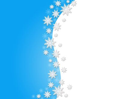 Blue Christmas background frame with snowflakes with empty space for text. Stock Photo