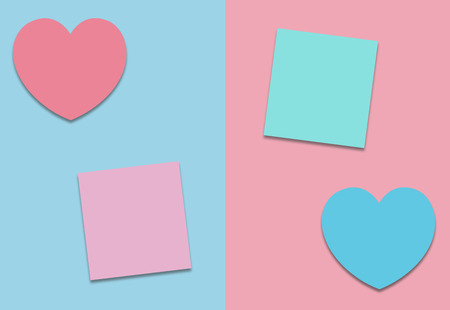 Valentines heart concept and paper notes in pastel color with copy space, minimal style Stock Photo