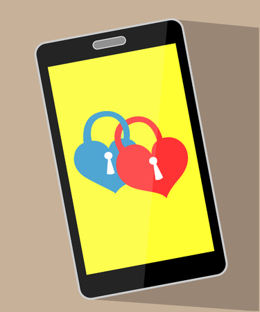 Two bonded hearts of a padlock on a mobile phone display conceptual image