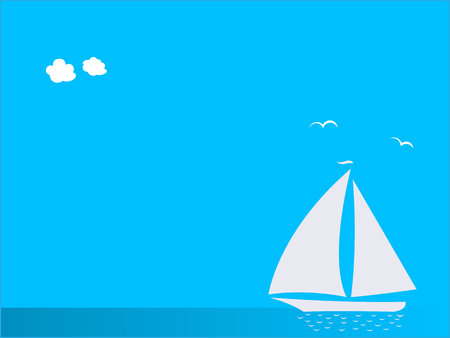 White sailboat on sea on blue background with copy space for your text.