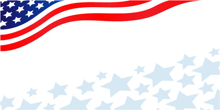American flag banner with stars Çizim