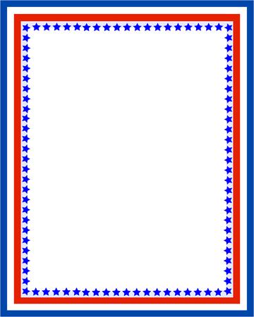 Patriotic border frame with USA flag symbols.