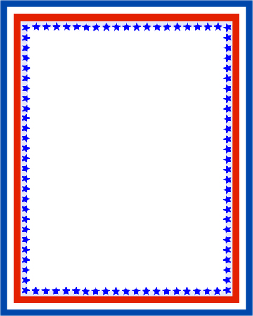Patriotic border frame with USA flag symbols.