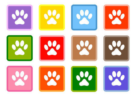Multi-colored squares with white paws icons set.