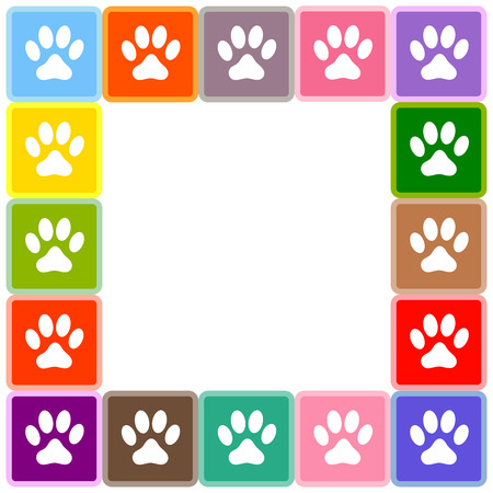 Multicolored squares with animal paw prints border