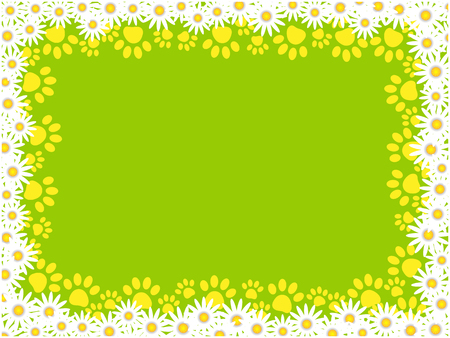 Summer green frame background with daisies and animal paw prints.