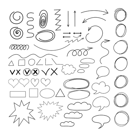 Doodle Arrows circles speech cloud different shape set 向量圖像